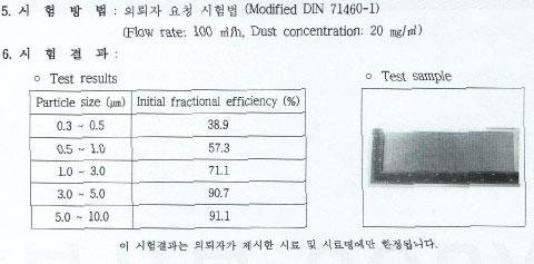 티엔-나노방진망-한국생산기술연구원-시험성적서